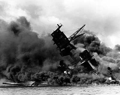 Uss Arizona Burning In Pearl Harbor Poster Art Print
