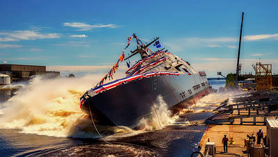 Photograph - Uss Billings Ship Launch by Military Photos