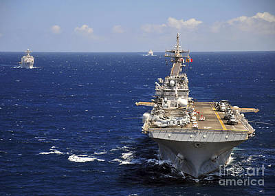 Uss Boxer Leads A Convoy Of Ships Art Print by Stocktrek Images