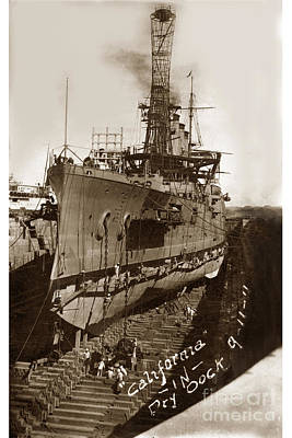 Photograph - U.s.s. California In Dry Dock Sept. 11 1911 by California Views Mr Pat Hathaway Archives