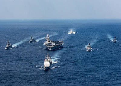 Photograph - Uss Carl Vinson Cvn70 Uss Wayne E Meyer Ddg108 Uss Lake Champlain Cg57 In The Philippine Sea by Paul Fearn