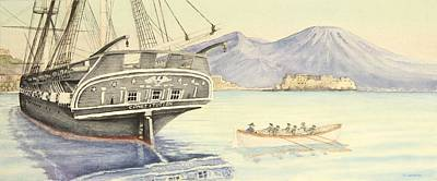 Uss Constitution Painting - Uss Constitution Conducts Diplomacy In Naples by Carl Hartsfield