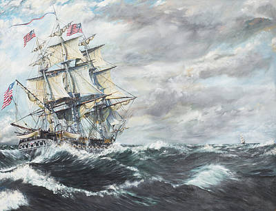 Sailing Ships Painting - Uss Constitution Heads For Hm Frigate Guerriere by Vincent Alexander Booth