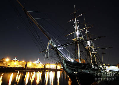 Uss Constitution Painting - Uss Constitution Is Moored To Her Pier At Night by Celestial Images