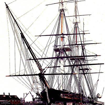 Photograph - Uss Constitution Mast Rigging - Boston Harbor by Merton Allen