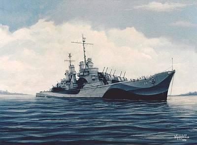 Uss  Cruiser San Juan Art Print by William H RaVell III