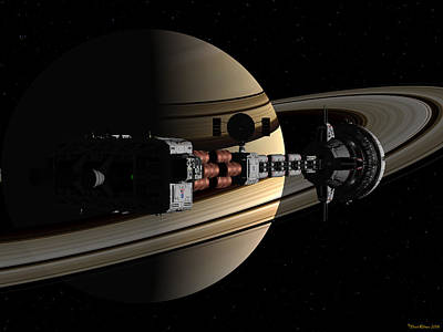 Digital Art - Uss Cumberland Passing Ringed Giant by David Robinson