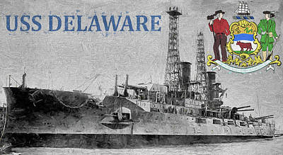 Digital Art - Uss Delaware by JC Findley