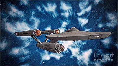 Klingon Wall Art - Digital Art - Uss Enterprise Towards The Unknown by Robert Radmore