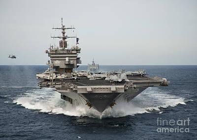 Enterprise Photograph - Uss Enterprise Transits The Atlantic by Stocktrek Images