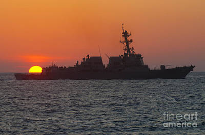 Jason Painting - Uss Farragut During Sunset by Celestial Images