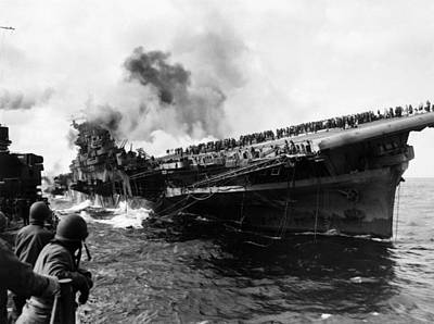 Transportation Royalty-Free and Rights-Managed Images - USS Franklin After Attack - 1945 by War Is Hell Store