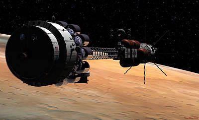 Digital Art - Uss Hermes 1 In Orbit by David Robinson