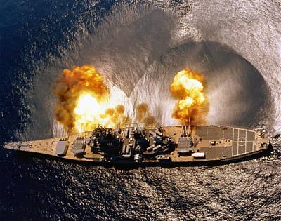 Iowa Photograph - Uss Iowa - Battleship Firing Broadside - 1984 by War Is Hell Store