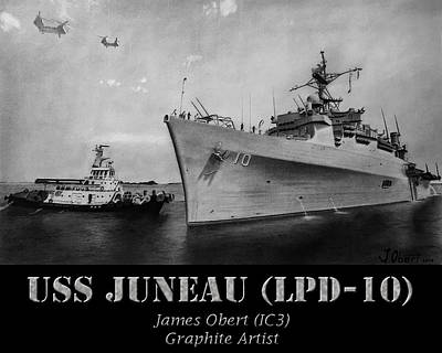 Beach Drawing - Uss Juneau Lpd 10 by James Obert