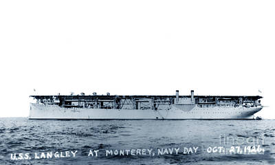 Photograph - Uss Langley Cv-1 Off Monterey, California, On Navy Day, 27 Oct 1926 by California Views Mr Pat Hathaway Archives