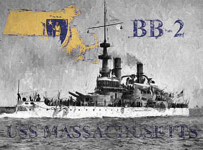 Digital Art - Uss Massachusetts B B-2 by JC Findley