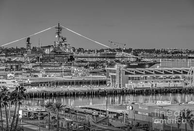 Photograph - Uss Midway Cv41 Bw by David Zanzinger