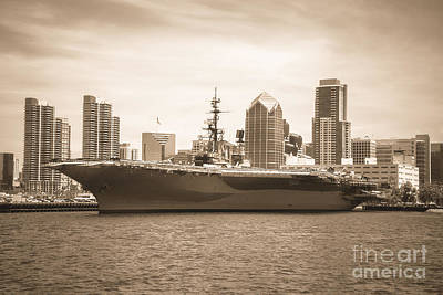 Photograph - Uss Midway Museoum Cv 41 Aircraft Carrier - Sepia by Claudia Ellis