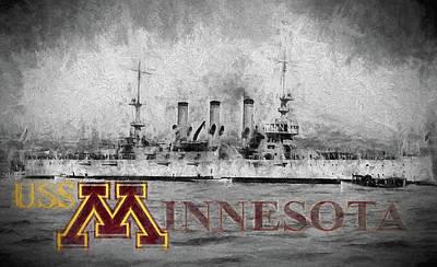 University Of Minnesota Wall Art - Digital Art - Uss Minnesota by JC Findley