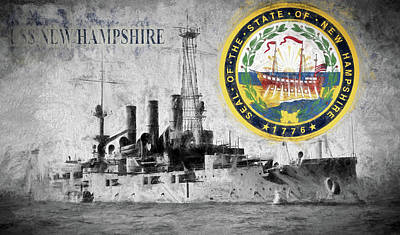 Digital Art - Uss New Hampshire by JC Findley