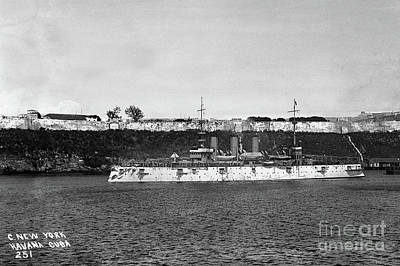Photograph - Uss New York Acr-2 Armored Cruiser In Havana Harbor, Cuba by California Views Mr Pat Hathaway Archives