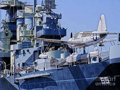 Uss North Carolina Observation Scout Aircraft Print by JW Hanley