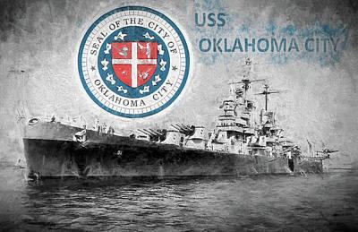Digital Art - Uss Oklahoma City by JC Findley