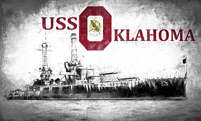 Oklahoma University Wall Art - Digital Art - Uss Oklahoma by JC Findley