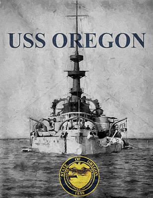 Digital Art - Uss Oregon by JC Findley