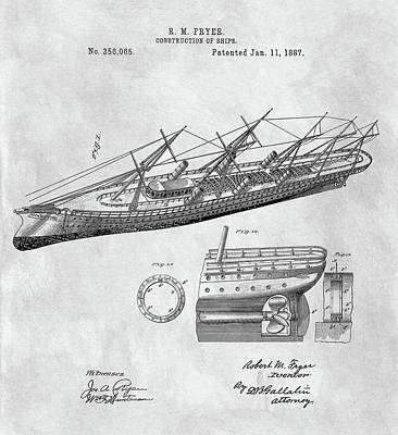Drawing - Uss Pocahontas Ship Illustration by Dan Sproul