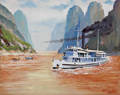 Steve Mcqueen Painting - Uss San Pablo On Yangtze River Patrol by Glenn Secrest