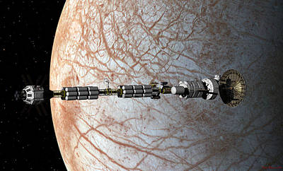 Digital Art - Uss Savannah Entering Orbit Around Europa by David Robinson