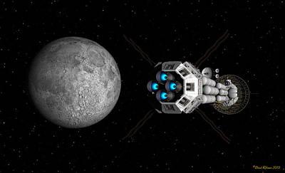 Digital Art - Uss Savannah Passing Earth's Moon by David Robinson