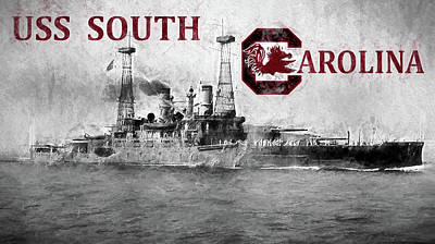 Battle Ship Photograph - Uss South Carolina by JC Findley
