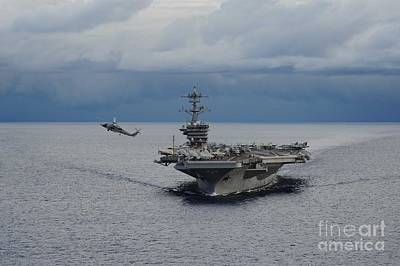 Us Navy Painting - Uss Theodore Roosevelt by Celestial Images