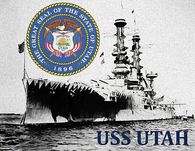 Digital Art - Uss Utah by JC Findley