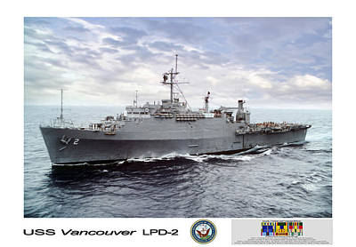 Uss Vancouver Lpd-2 Art Print by Peter Chilelli
