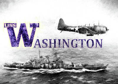 Wa Digital Art - Uss Washington by JC Findley