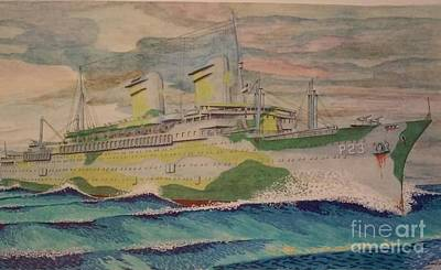 Liner Mixed Media - Uss West Point Ap23 by Russell Parmerter
