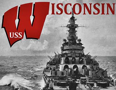 Digital Art - Uss Wisconsin by JC Findley
