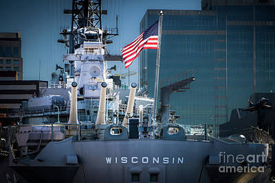 Uss Wisconsin With American Flag Art Print