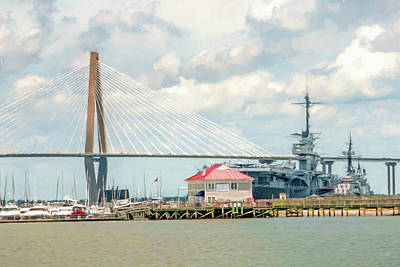 Digital Art - Uss Yorktown And Arthur Ravenel Jr. Bridge by Trey Foerster