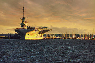 Photograph - Uss Yorktown Cv10 Harbor by E Karl Braun