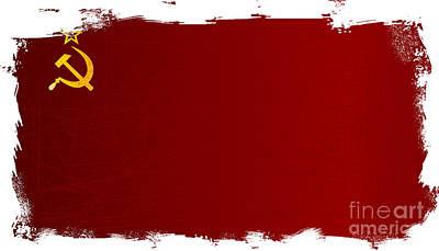 Lenin Digital Art - Ussr Flag Grunge by Bigalbaloo Stock