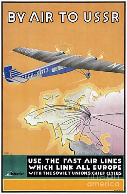 Airways Mixed Media - Ussr Vintage Air Travel Poster Restored by Carsten Reisinger