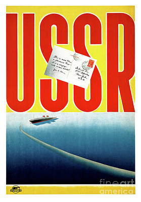 Mixed Media - Ussr Vintage Cruise Travel Poster Restored by Carsten Reisinger