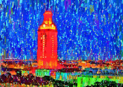 Texas Longhorn Painting - Ut Austin Tower - Pa by Leonardo Digenio