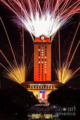 Texas Photograph - Ut Tower Fireworks by Tod and Cynthia Grubbs