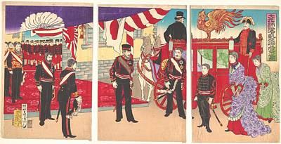 Utagawa Kunisada IIi    Daigensui Heika Gaisen Gokigyo Arrival Of The Emperor At Tokyo After The Victory Russo Jap Art Print
